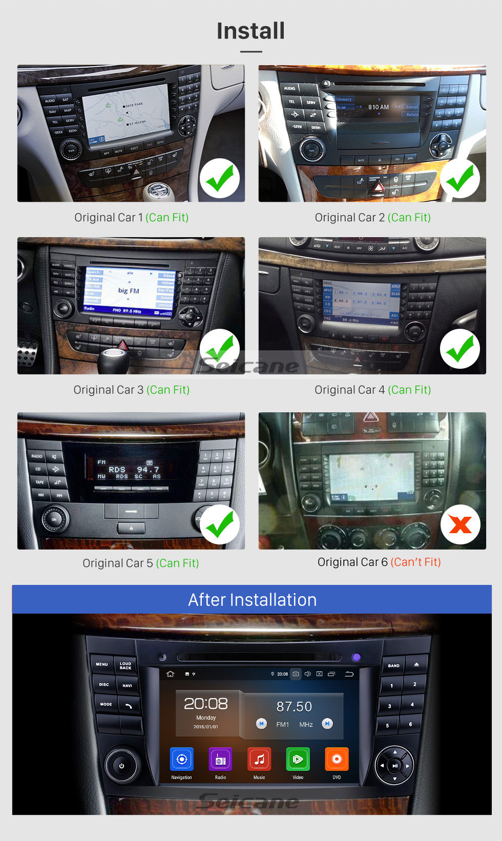 Seicane 7 inch Mercedes Benz CLK W209 HD Touchscreen Android 9.0 GPS Navigation Radio Bluetooth Carplay USB Music AUX support TPMS DAB+ Mirror Link