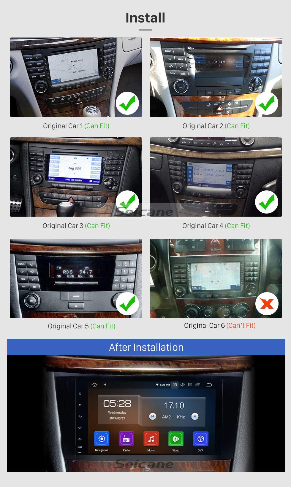 Seicane 8 Zoll Android 9.0 Radio IPS Vollbild GPS Navigation Auto Multimedia Player für 2005-2006 Mercedes Benz CLK W209 mit RDS 3G WiFi Bluetooth Spiegel Link OBD2 Lenkradsteuerung