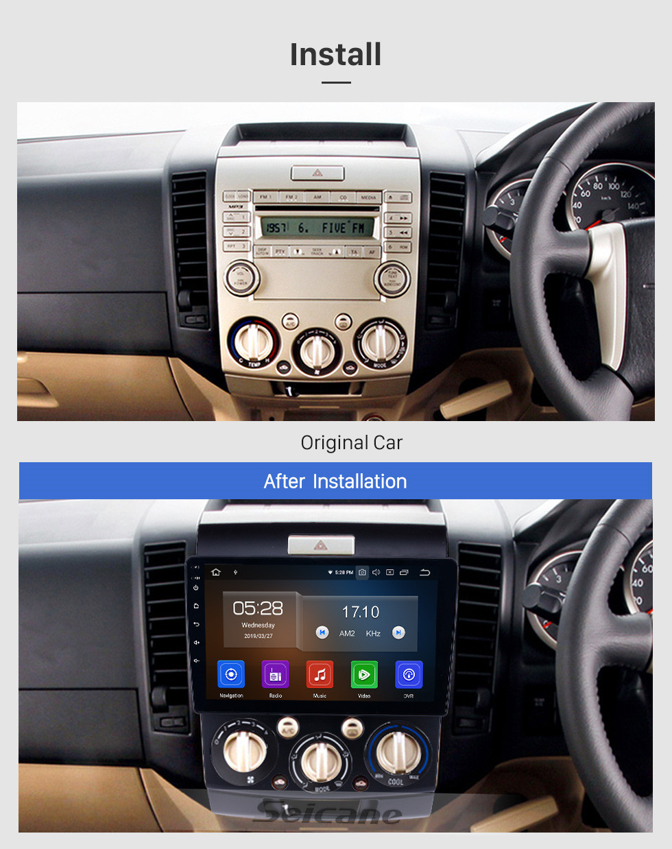 Seicane 2006-2010 Ford Everest/Ranger Android 9.0 9 inch GPS Navigation Radio Bluetooth HD Touchscreen USB Carplay support TPMS Steering Wheel Control