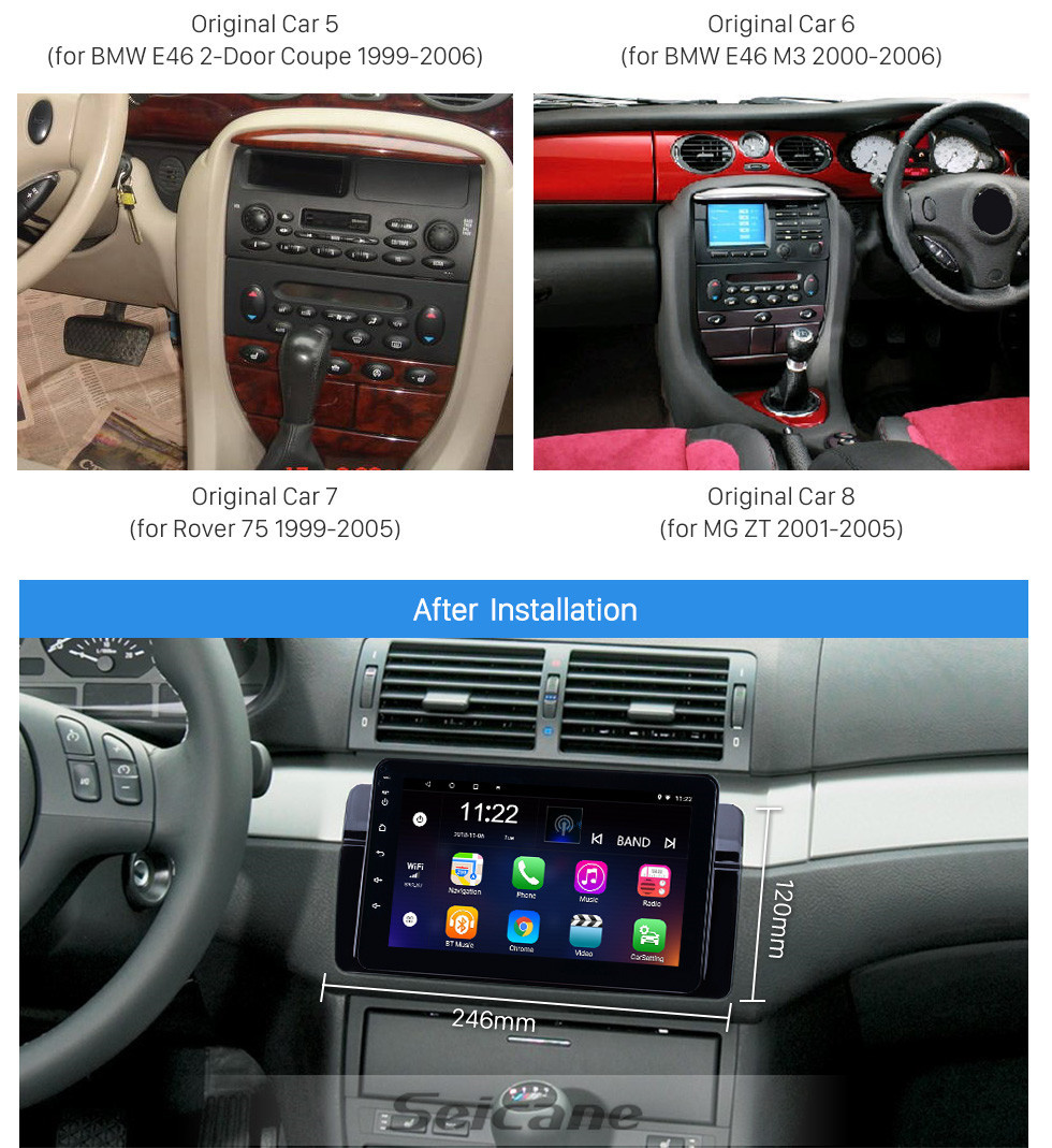 Seicane 8 pouces 2001-2004 MG ZT Android 8.1 Navigation GPS Radio Bluetooth Musique HD Écran tactile AUX support TV numérique Carplay Commande au volant
