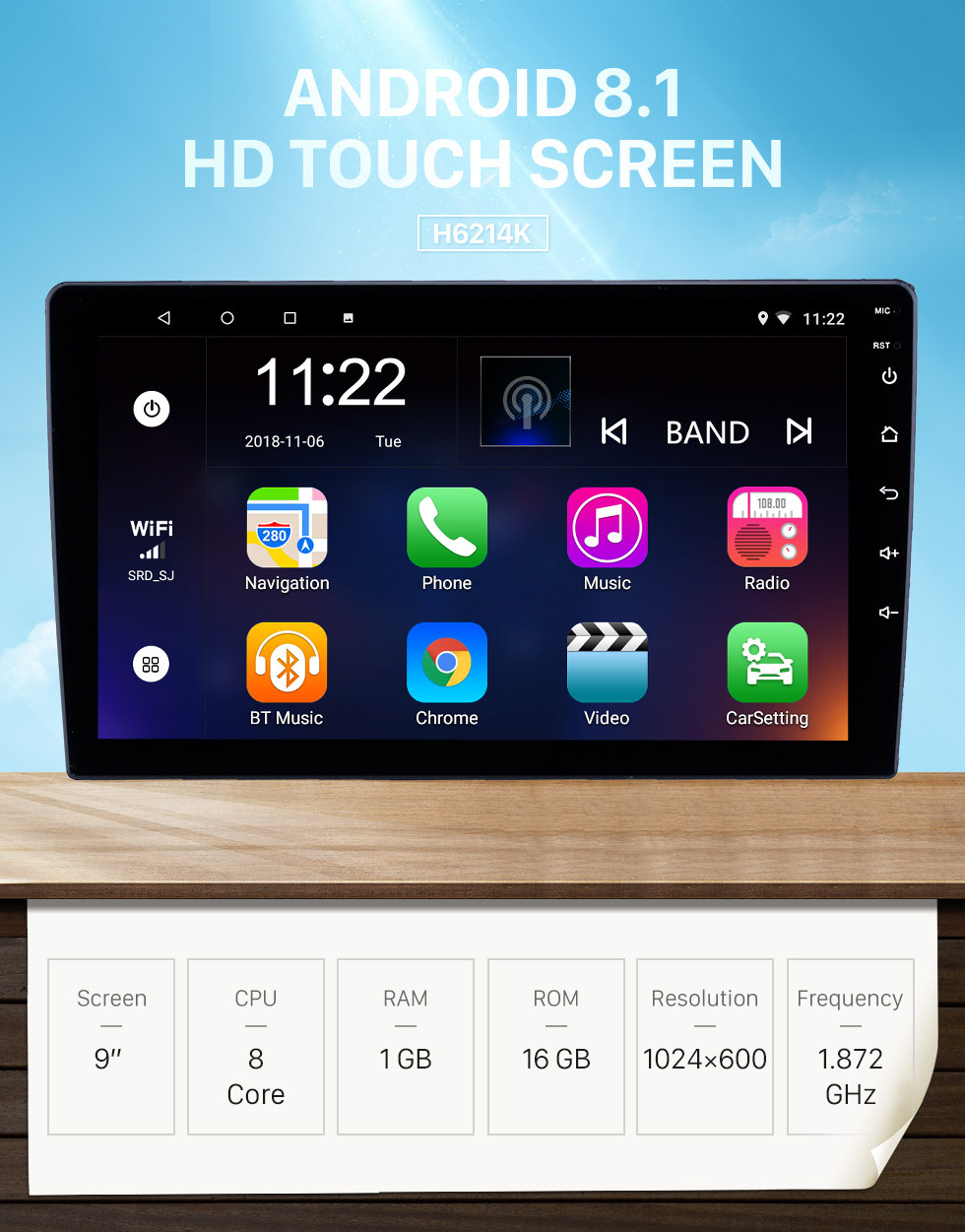 Seicane HD Touchscreen 9 inch Android 8.1 GPS Navigation Universal Radio RHD with Bluetooth AUX Music support DVR Carplay OBD Steering Wheel Control