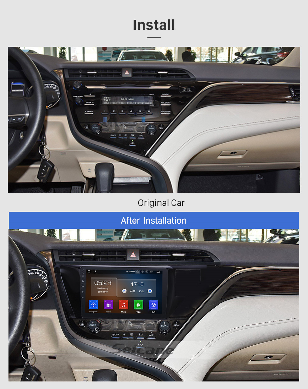 Seicane 10,1 pouces Android 9.0 Radio pour 2018-2019 Toyota Camry LHD Bluetooth Wifi HD Touchscreen Navigation GPS Carplay support USB DVR Digital TV TPMS