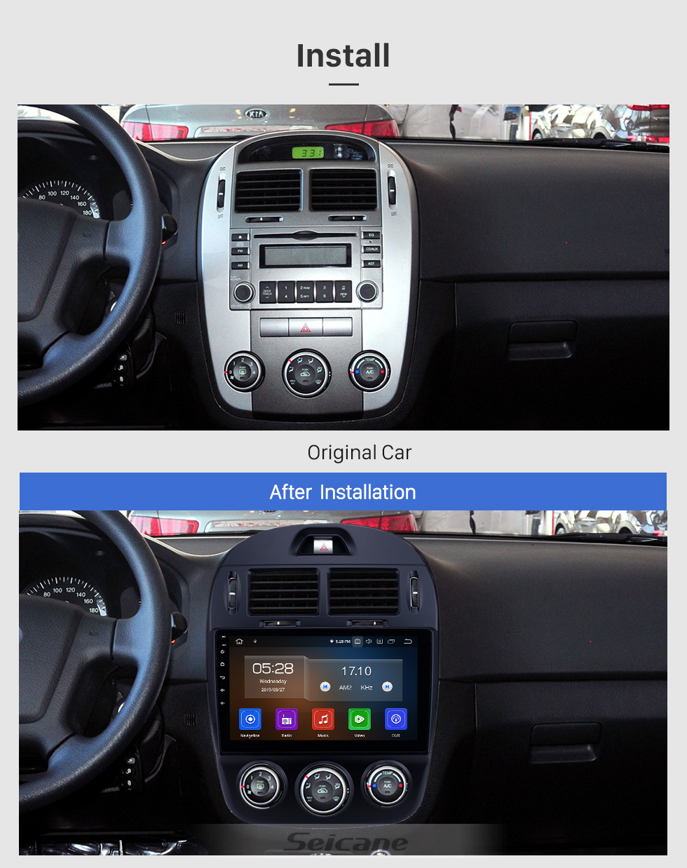 Seicane 10.1 inch Android 9.0 GPS Navigation Radio for 2017-2019 Kia Cerato Manual A/C Bluetooth Wifi HD Touchscreen Music Carplay support Backup camera 1080P