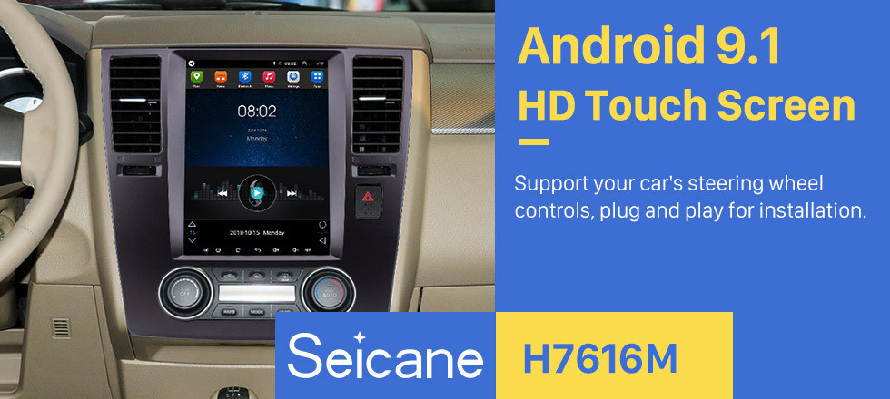 Seicane 9.7 inch Android 9.1 2005-2010 Nissan Tiida GPS Navigation Radio with Touchscreen Bluetooth AUX WIFI Music support OBD2 DVR Carplay Mirror Link