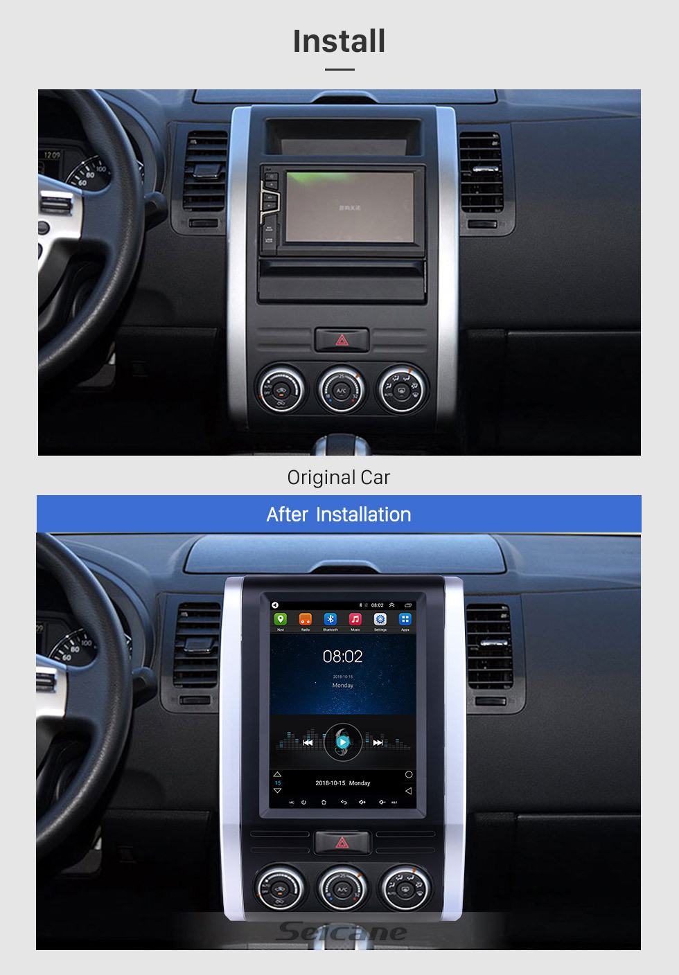 Seicane 9.7 inch Android 9.1 2008-2012 Nissan X-Trail MX6 GPS Navigation Radio with Touchscreen Bluetooth USB AUX WIFI support TPMS Digital TV Carplay