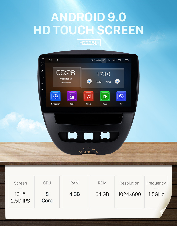 Seicane 10,1 pouces Android 9.0 Radio de navigation GPS pour 2005-2014 Citroen Bluetooth Wifi HD Écran tactile Musique Carplay support caméra de recul 1080 P vidéo