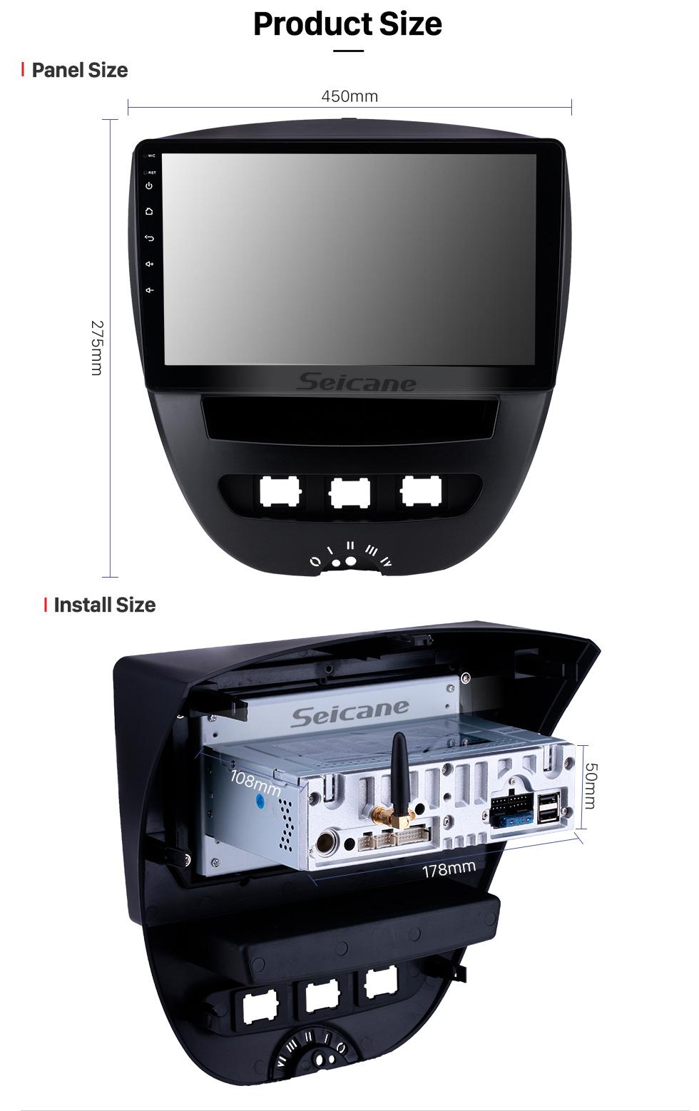 Seicane 10.1 polegada Android 9.0 Rádio para 2005-2014 Citroen Bluetooth Wi-fi HD Touchscreen Navegação GPS Carplay USB suporte TPMS Controle de Volante