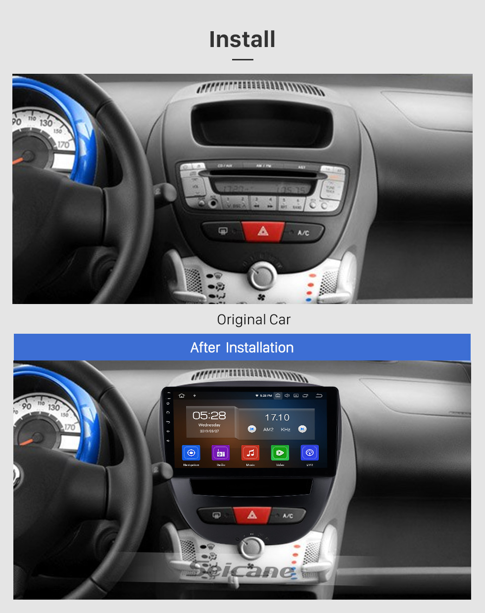 Seicane 10,1 Zoll 2005-2014 Peugeot 107 Android 9.0 GPS Navigationsradio Bluetooth HD Touchscreen AUX Carplay Musikunterstützung 1080P Video Digital TV Rückfahrkamera