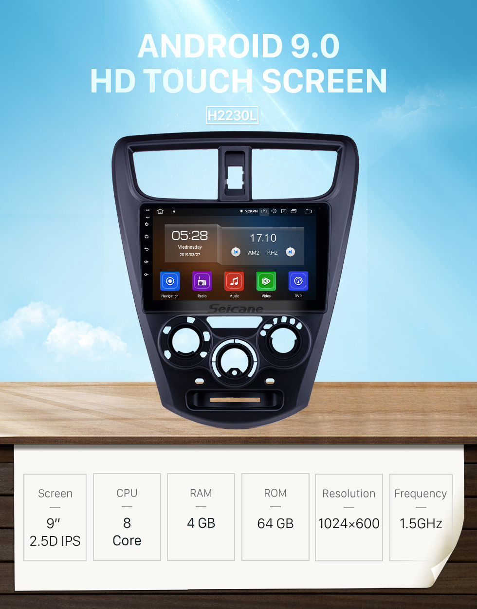 Seicane OEM 9 pouces Android 9.0 Radio pour 2015 Perodua Axia Bluetooth WIFI HD Écran Tactile Musique GPS Navigation Carplay USB support Digital TV TPMS