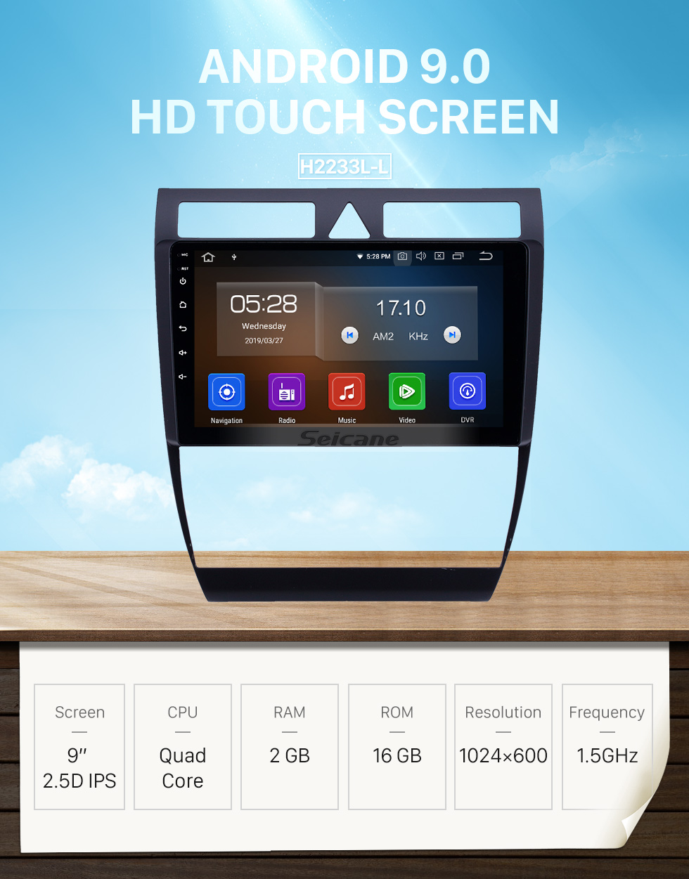 Seicane Android 9.0 for Audi A6 S6 RS6 1997-2004 9 inch HD Touchscreen GPS Navigation Radio with Bluetooth USB Music Carplay WIFI support Digital TV DAB+ OBD2 DVR