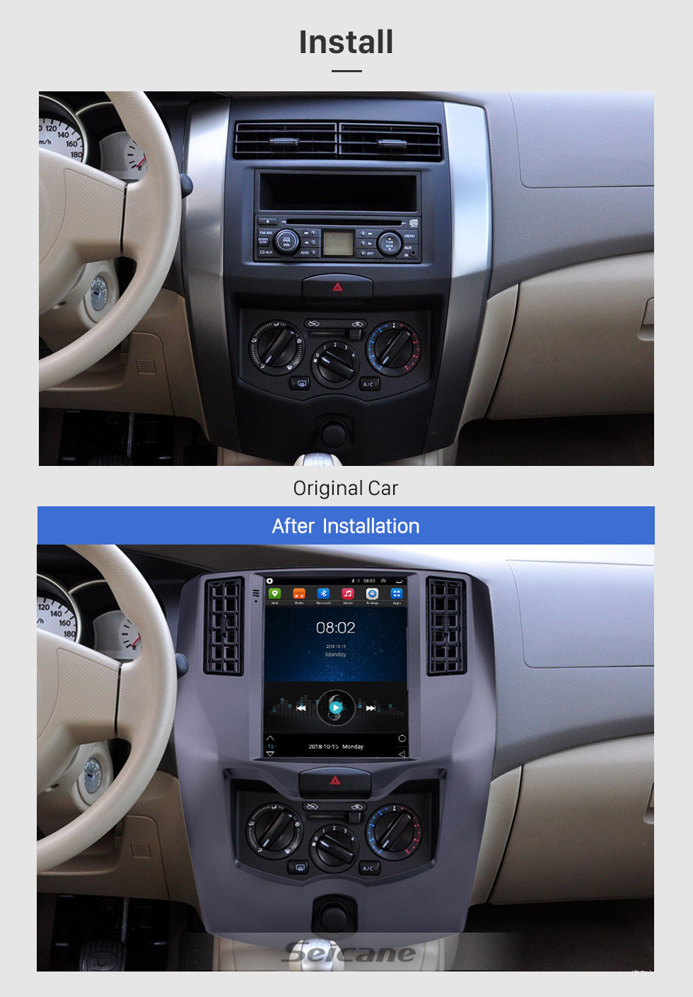 Seicane 9.7 inch Android 9.1 2008-2015 Nissan Livina GPS Navigation Radio with Touchscreen Bluetooth USB WIFI support Carplay Steering Wheel Control