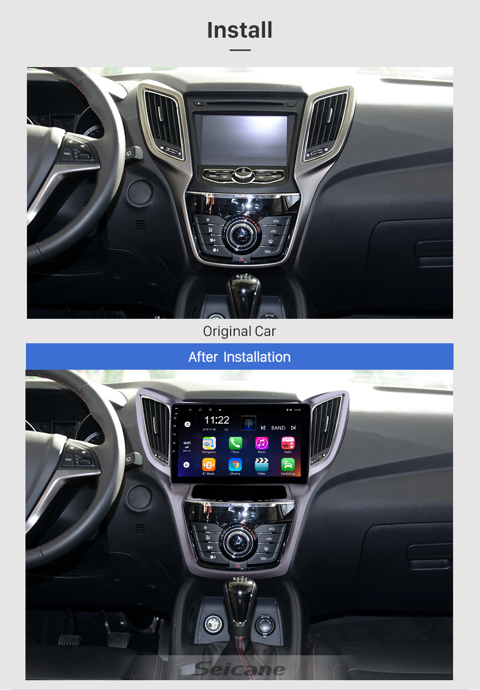 Seicane 10.1 inch Android 8.1 HD Touchscreen GPS Navigation Radio for 2013-2016 Changan CS75 with Bluetooth WIFI AUX support Carplay SWC Mirror Link