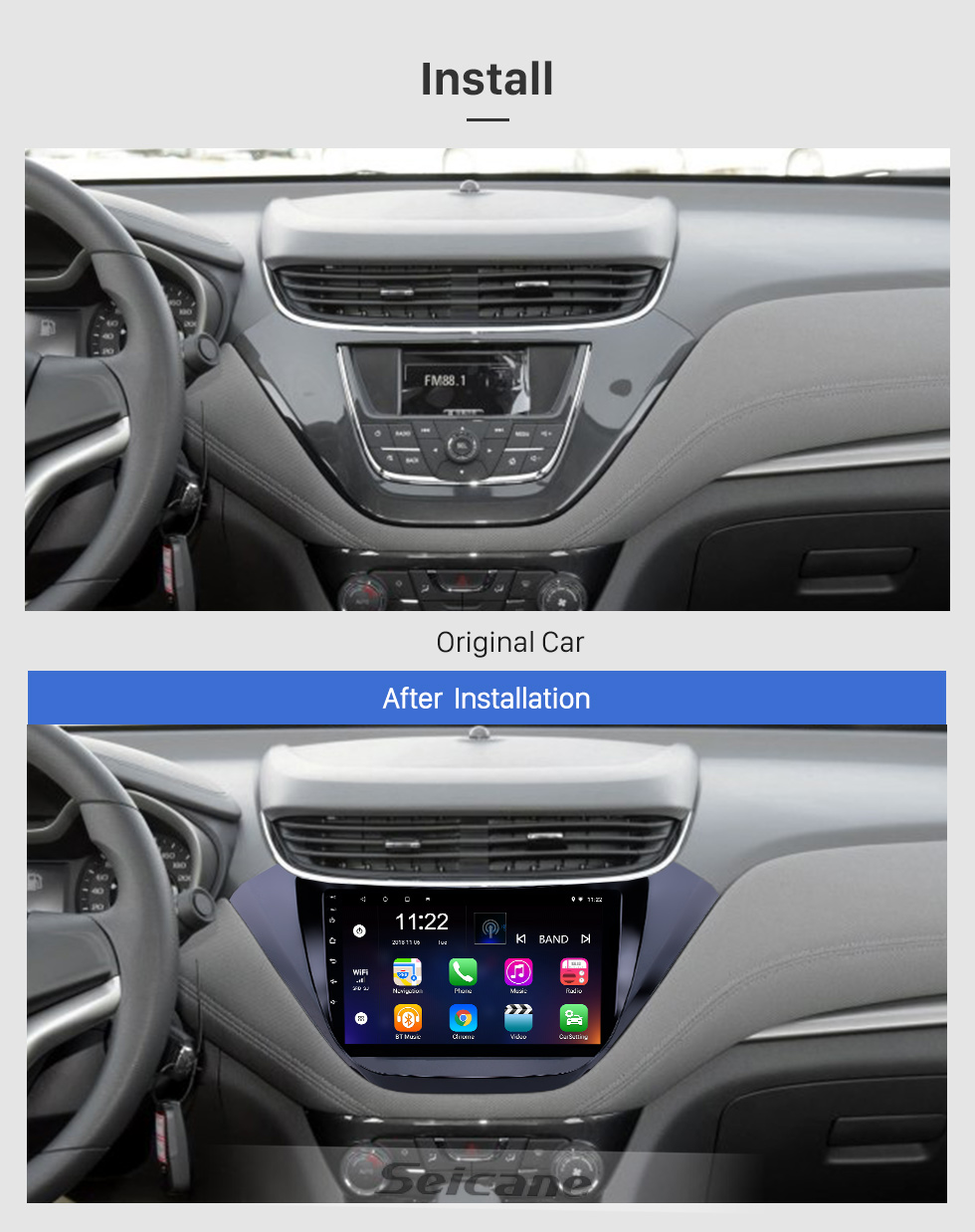 Seicane Android 9.0 9 inch Touchscreen GPS Navigation Radio for 2015-2016 Chevrolet malibu with Bluetooth USB WIFI support Carplay SWC Rear camera
