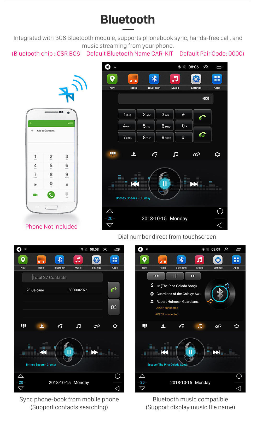 Seicane OEM 9,7 pouces Android 9.1 2007-2012 Kia Carens Radio de navigation GPS A / C automatique avec écran tactile Bluetooth USB AUX WIFI prise en charge TPMS Digital TV Carplay