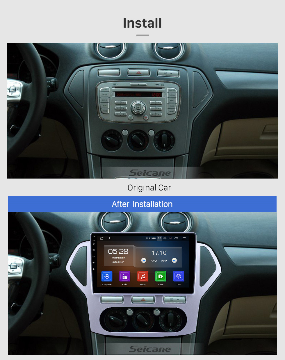 Seicane 10,1 Zoll Android 9.0 Radio für 2007-2010 Ford Mondeo-Zhisheng Handbuch A / C Bluetooth Wifi Touchscreen GPS Navigation Carplay Unterstützung Digital TV