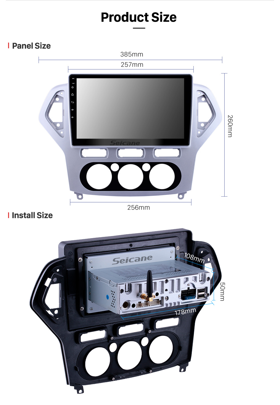 Seicane 10.1 pulgadas Android 9.0 Radio de navegación GPS para 2007-2010 Ford Mondeo-Zhisheng Manual A / C Bluetooth Wifi HD Pantalla táctil compatible con 1080P