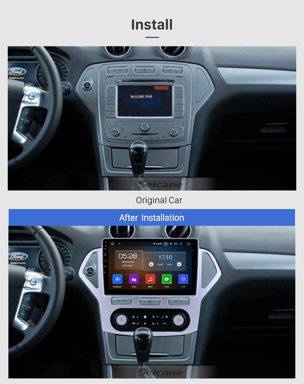 Seicane 10.1 inch Android 9.0 Radio for 2007-2010 Ford Mondeo-Zhisheng Auto A/C Bluetooth HD Touchscreen GPS Navigation Carplay USB support TPMS OBD2