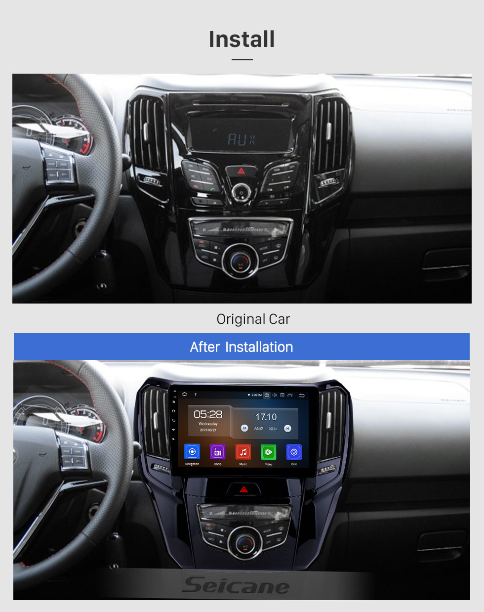 Seicane 10.1 inch Android 9.0 GPS Navigation Radio for 2014 2015 Great Wall M4 Bluetooth Wifi HD Touchscreen Carplay support DAB+ Steering Wheel Control