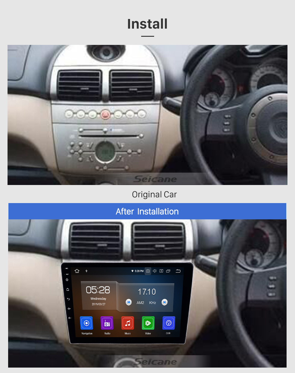 Seicane Android 9.0 Radio de navegación GPS de 9 pulgadas para 2006-2010 Proton GenⅡ con pantalla táctil HD Carplay Bluetooth WIFI USB AUX compatible con Mirror Link OBD2 SWC