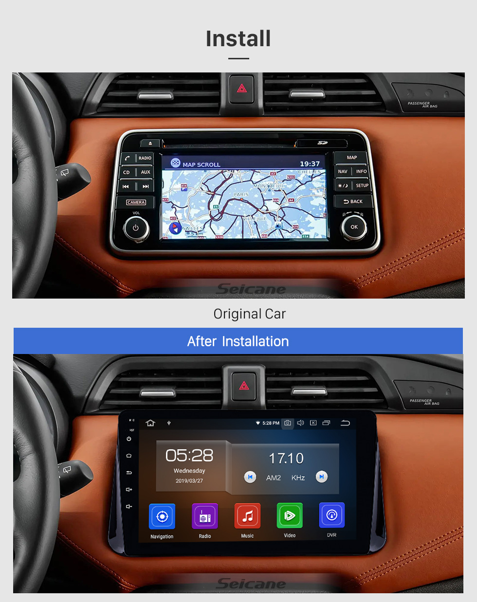 Seicane 10,1 zoll 2017 nissan micra android 9,0 gps navigation radio bluetooth hd touchscreen aux usb musik carplay unterstützung 1080 p video spiegel link