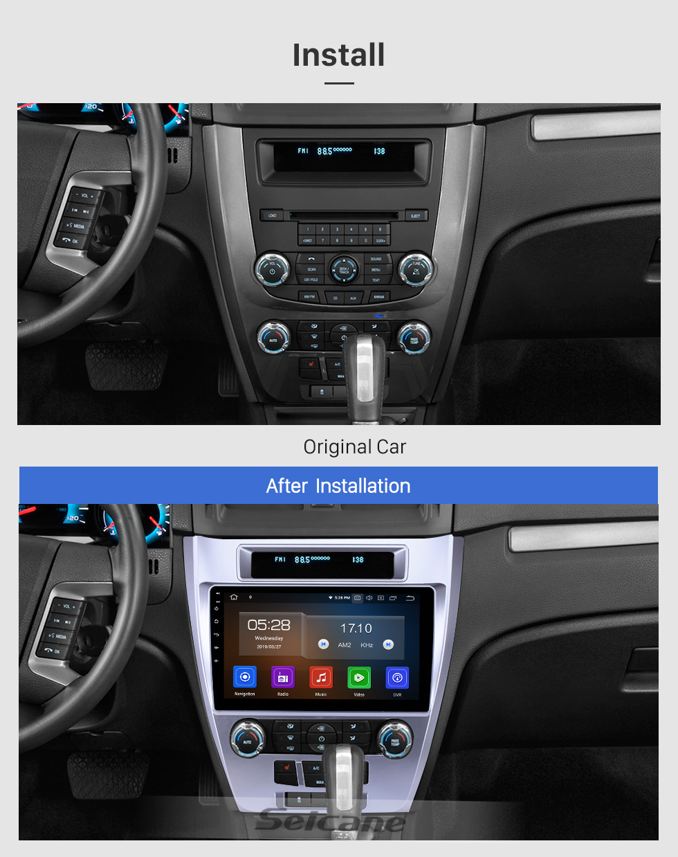 Seicane 10.1 pulgadas 2009-2012 Ford Mondeo Android 9.0 Navegación GPS Radio Bluetooth HD Pantalla táctil AUX USB Música Carplay compatible 1080P Video Mirror Link