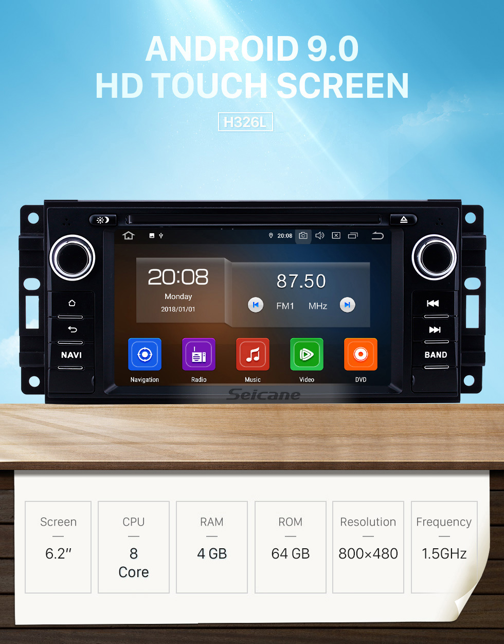 Seicane 7 inch 2005-2011 Jeep Grand Cherokee/Wrangler/Compass/Commander Android 9.0 GPS Navigation Radio Bluetooth Touchscreen Carplay support 1080P Video