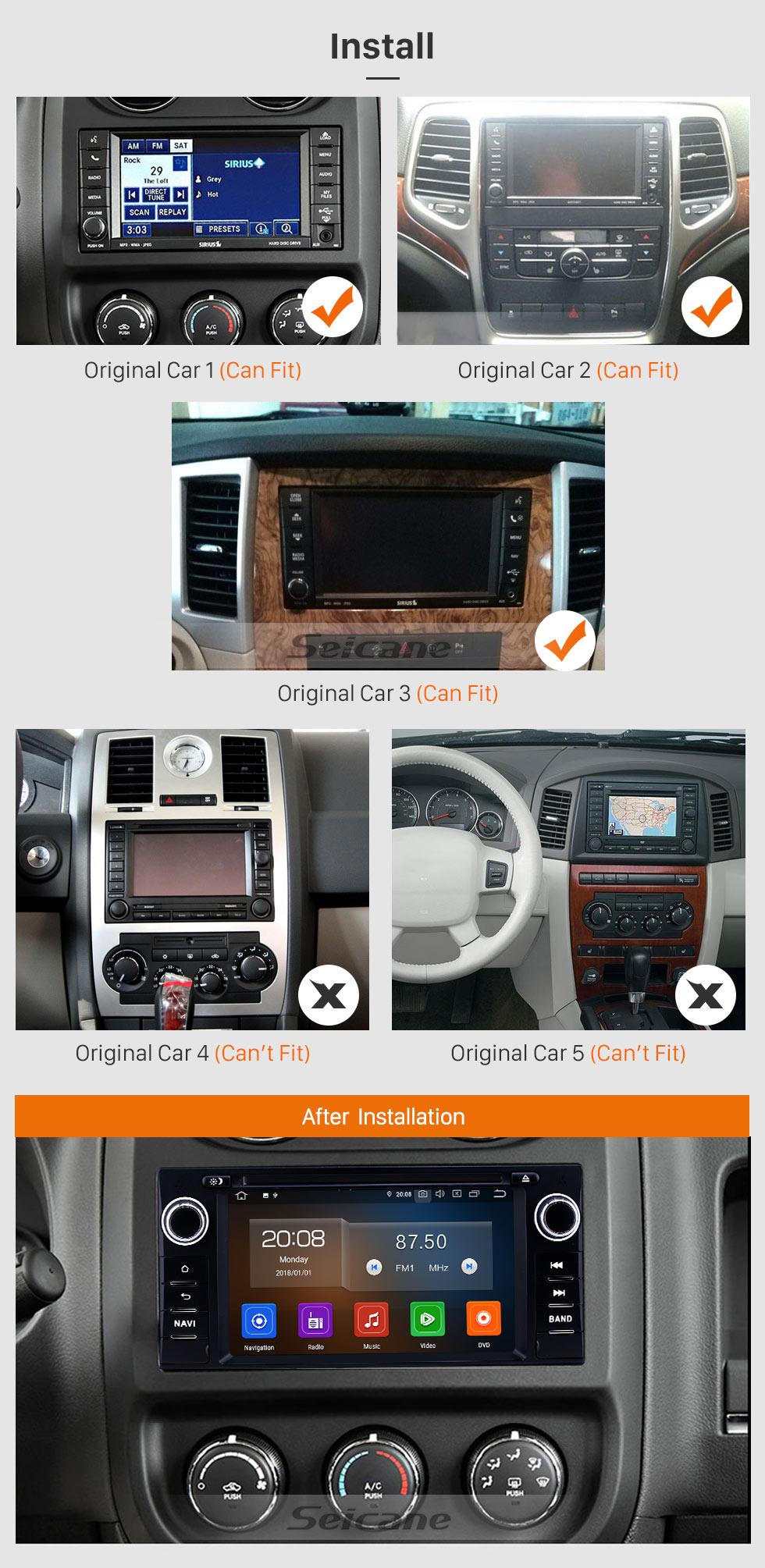 Seicane 7 polegadas 2005-2011 Jeep Grand Cherokee / Wrangler / Bússola / Comandante Android 9.0 Navegação GPS Rádio Bluetooth Tela sensível ao toque Bluetooth Suporte de reprodução Câmera de backup
