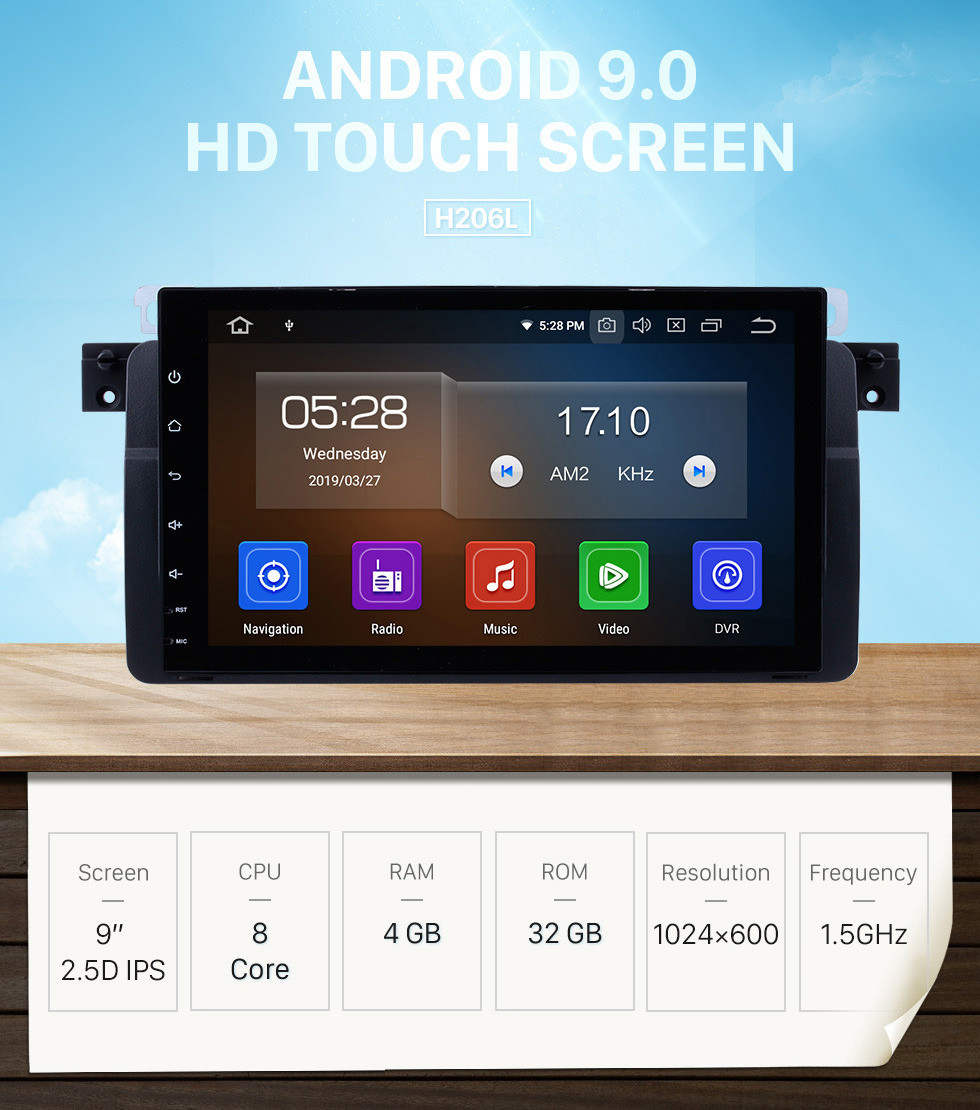 Seicane 1998-2006 BMW 3 Series M3 E46 316i 318i 320i 323i 325i Android 9.0 9 inch HD touchscreen 1024*600 Car Stereo DVD GPS System with Bluetooth Radio RDS Tuner WiFi Mirror Link OBD2