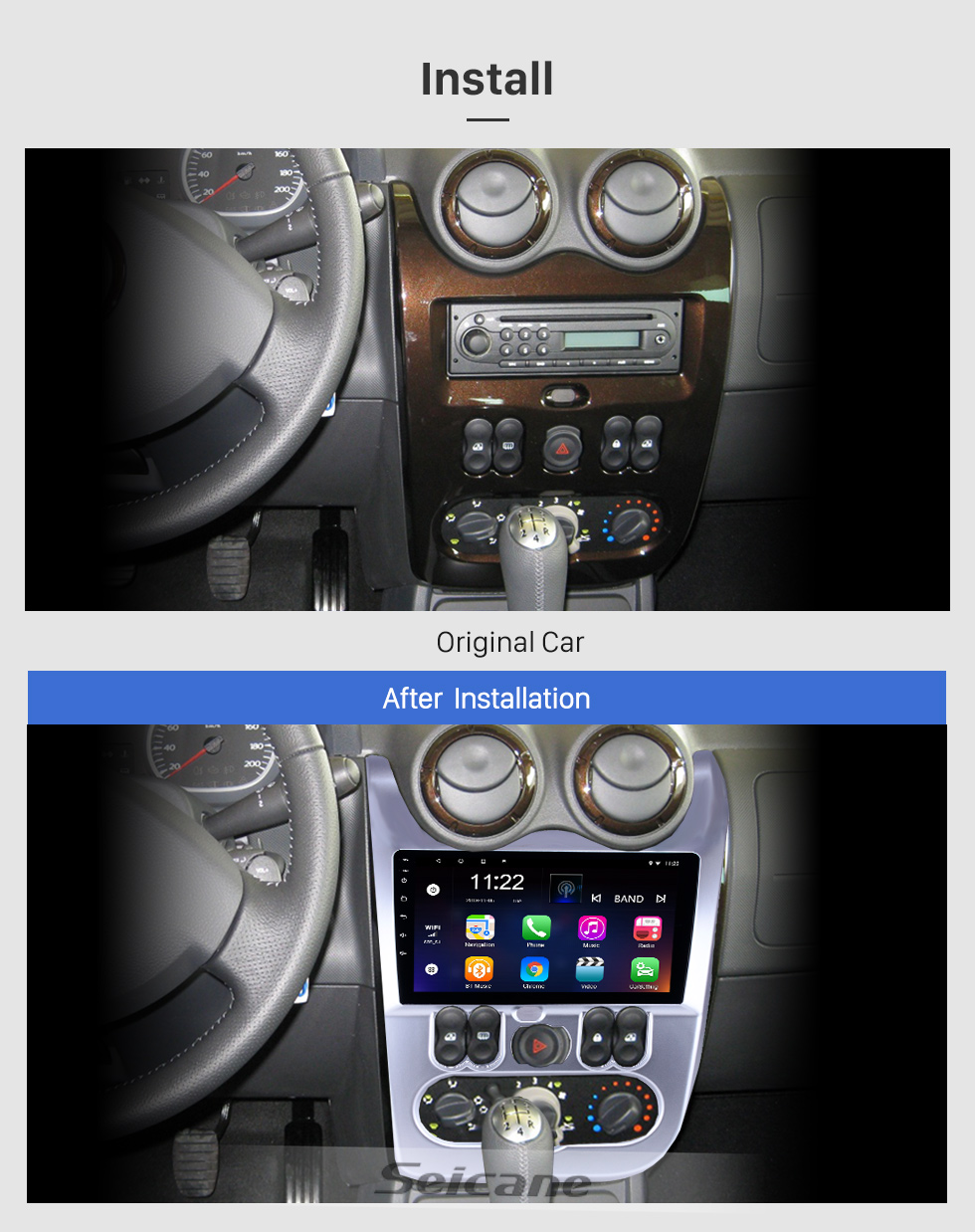 Seicane 2009-2013 Renault Duster/Logan 9 inch Android 8.1 HD Touchscreen Bluetooth GPS Navigation Radio USB AUX support Carplay 3G WIFI Backup camera