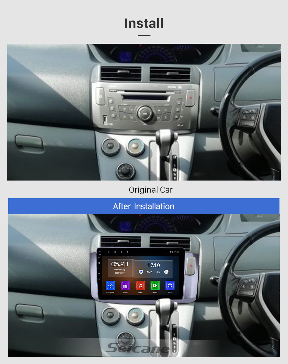 Seicane 10.1 inch Android 9.0 Radio for 2010 Perodua Alza Bluetooth HD Touchscreen GPS Navigation WIFI Carplay USB support TPMS DAB+ OBD2 Digital TV