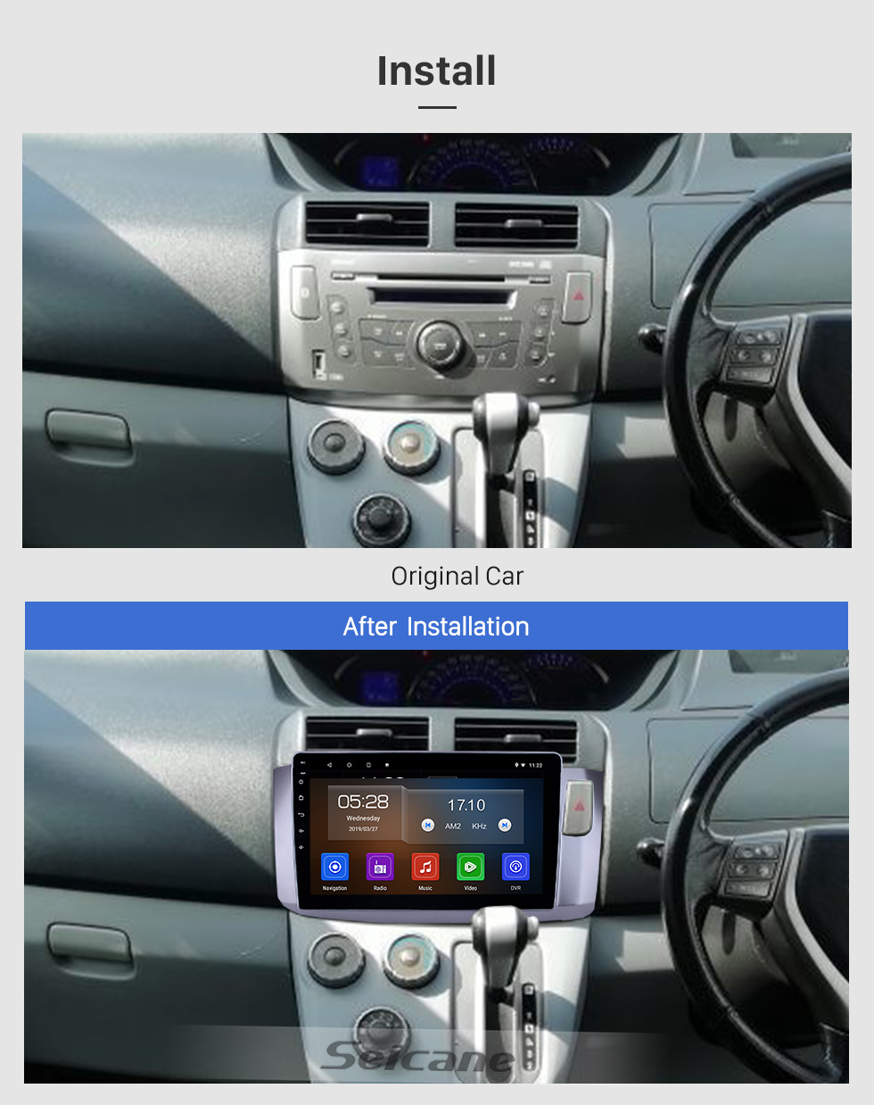 Seicane 10.1 pulgadas 2010 Perodua Alza Android 9.0 Navegación GPS Radio Bluetooth HD Pantalla táctil AUX USB WIFI Carplay compatible OBD2 DAB + 1080P Video