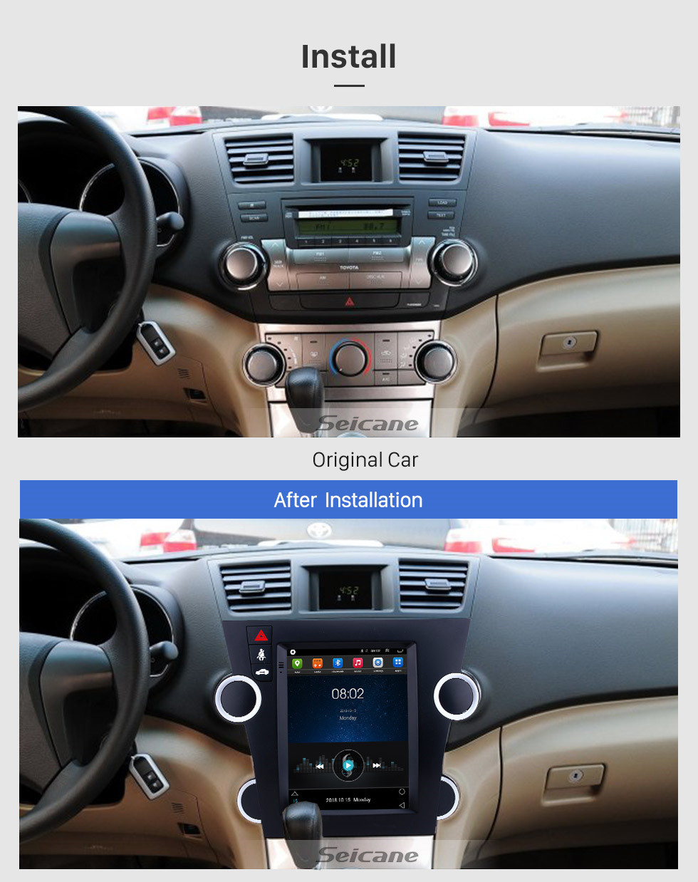 Seicane Android 9.1 9.7 inch GPS Navigation Radio for 2009-2014 Toyota Highlander with HD Touchscreen Bluetooth WIFI AUX support Carplay Mirror Link OBD2