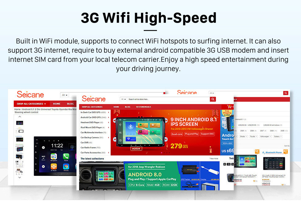 Seicane 2008-2011 Toyota Yaris Android 8.1 Pantalla táctil 9 pulgadas Unidad principal Bluetooth Navegación GPS Radio con soporte AUX WIFI OBD2 DVR SWC Carpeta