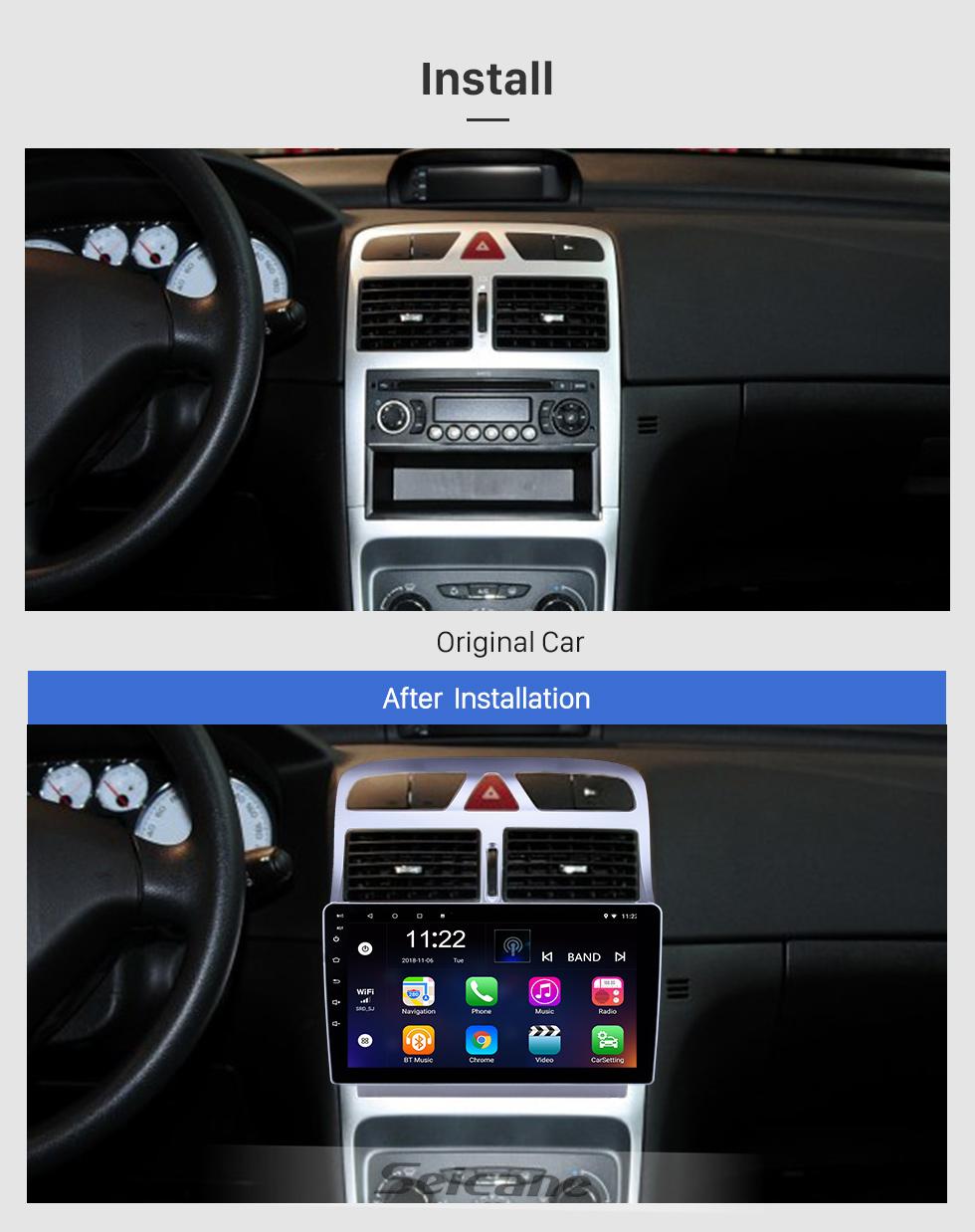 Seicane 9 pulgadas con Android 8.1 HD Pantalla táctil GPS Radio Radio para 2007-2013 Peugeot 307 con Bluetooth AUX, soporte DVR Carplay Control del volante