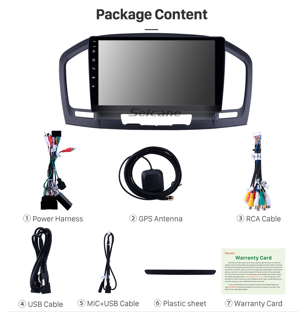 Seicane OEM 9 inch Android 9.0 Radio for 2009-2013 Buick Regal Bluetooth Wifi HD Touchscreen Music GPS Navigation Carplay support DAB+ Rearview camera