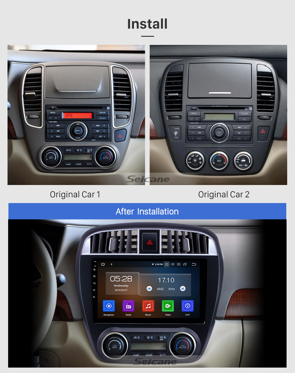 Seicane 2009 Nissan Sylphy Android 9.0 9 inch GPS Navigation Radio Bluetooth AUX HD Touchscreen USB Carplay support TPMS DVR Digital TV Backup camera