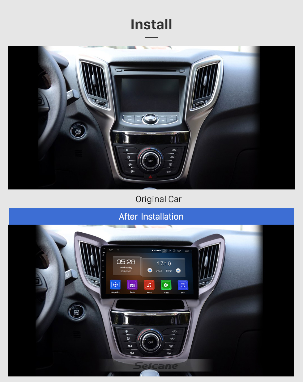 Seicane 10.1 pulgadas 2013-2016 Changan CS75 Android 9.0 Navegación GPS Radio Bluetooth HD Pantalla táctil AUX USB WIFI Carplay soporte OBD2 1080P Video