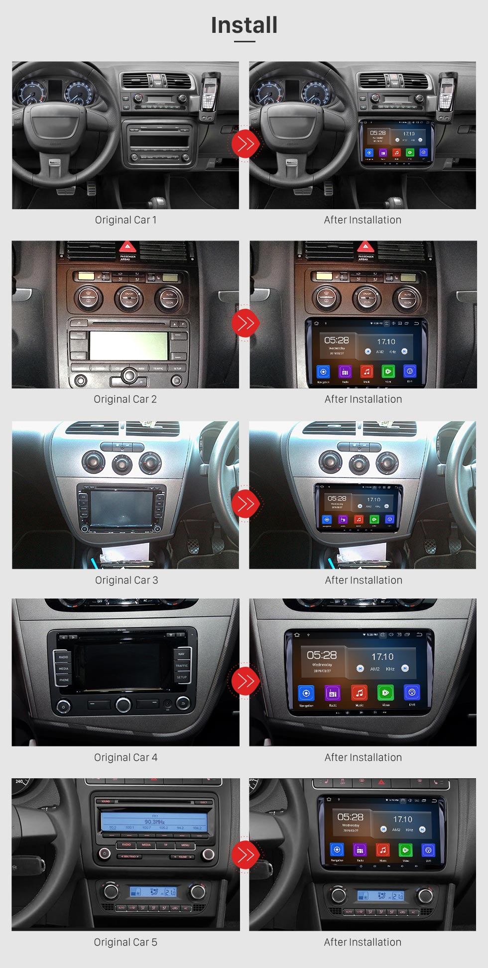 Seicane 2010 2011 Seat AlhambraAndroid 9.0 GPS Navigation Car DVD Player with 3G WiFi Mirror Link Backup Camera OBD2 DVR HD touch Screen Steering wheel control Bluetooth
