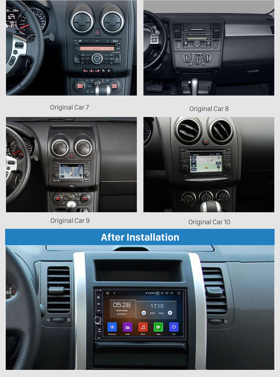 Seicane Hot Selling Android 9.0 2005-2011 Kia rio GPS Navigation Car Audio System Touch Screen AM FM Radio Bluetooth Music 3G WiFi OBD2 Mirror Link AUX Backup Camera USB SD 1080P Video