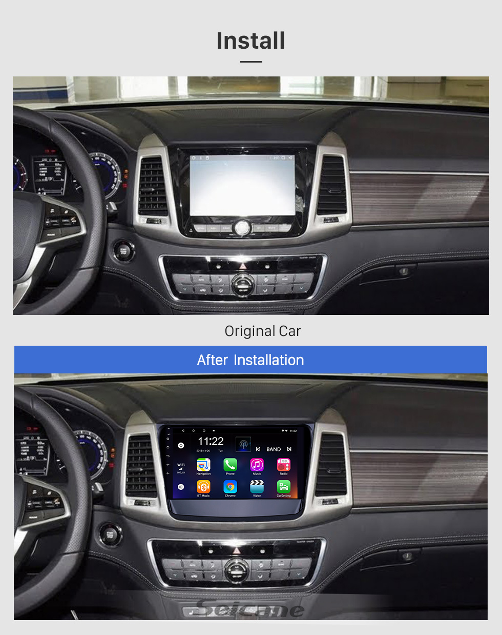 Seicane 10.1 inch Android 8.1 HD Touchscreen GPS Navigation Radio for 2019 Ssang Yong Rexton with Bluetooth WIFI AUX support Carplay Mirror Link