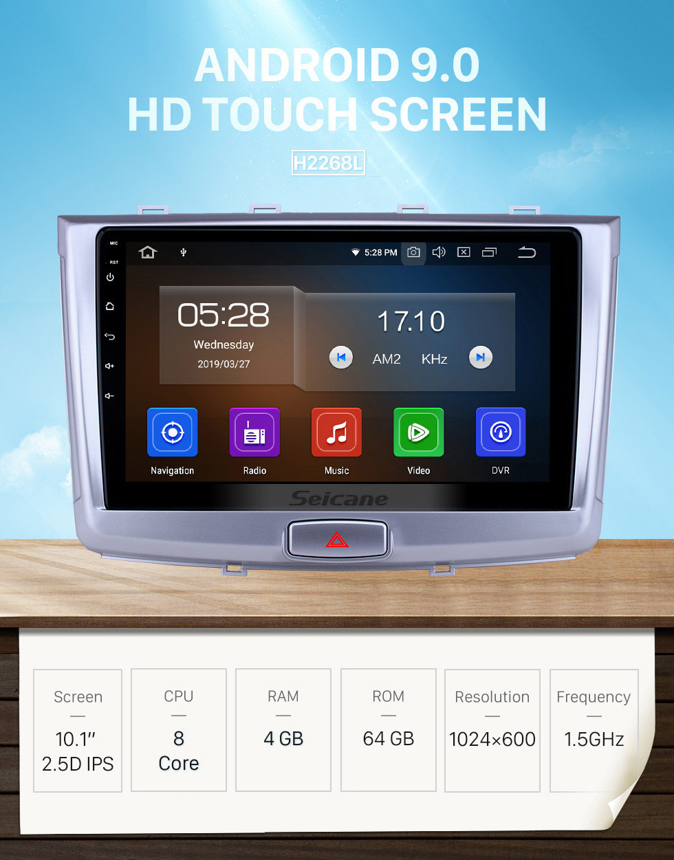 Seicane 10.1 inch Android 9.0 Radio for 2017 Great Wall Haval H6 Bluetooth HD Touchscreen GPS Navigation Carplay USB support TPMS OBD2 Backup camera