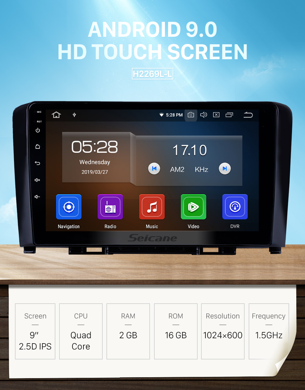 Seicane Pantalla táctil HD 2011-2016 Great Wall Haval H6 Android 9.0 9 pulgadas Navegación GPS Radio Bluetooth Carplay WIFI compatible Control del volante