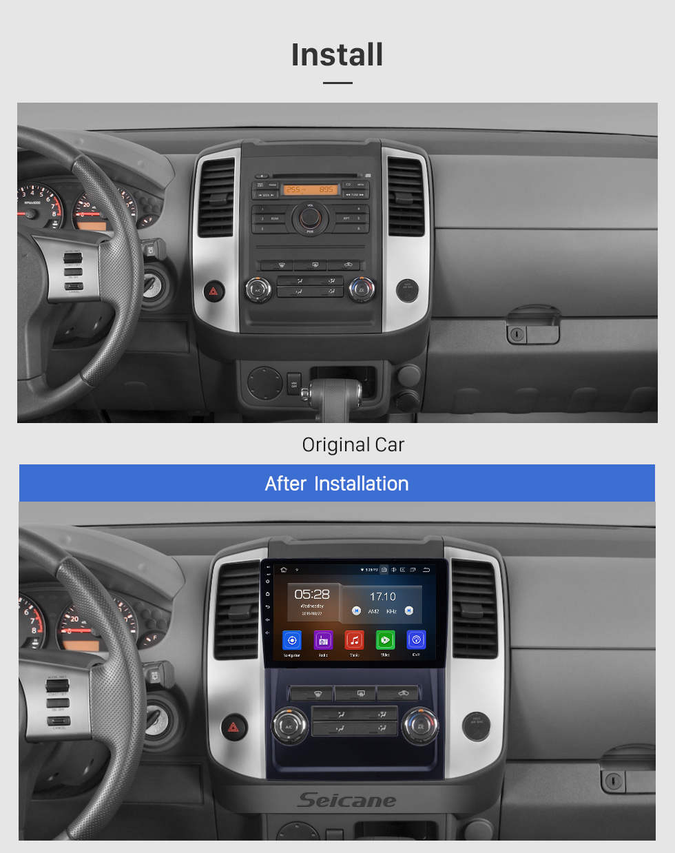 Seicane 9 inch 2009-2012 Nissan Frontier/Xterra Android 9.0 GPS Navigation Radio Bluetooth Touchscreen AUX Carplay support OBD2 DAB+ 1080P Video