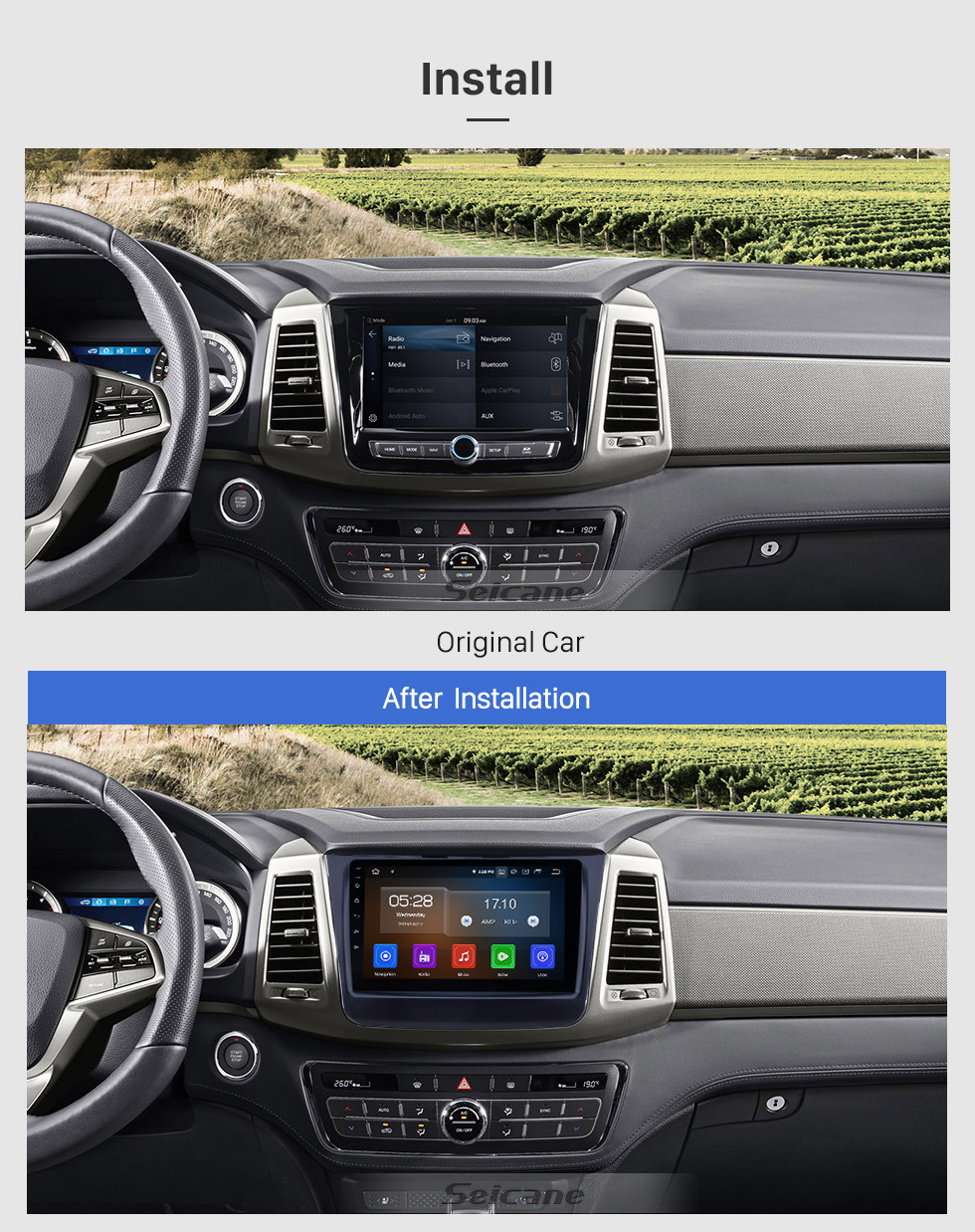 Seicane HD Touchscreen 2018 Ssang Yong Rexton Android 9.0 9 inch GPS Navigation Radio Bluetooth USB Carplay WIFI AUX support Steering Wheel Control