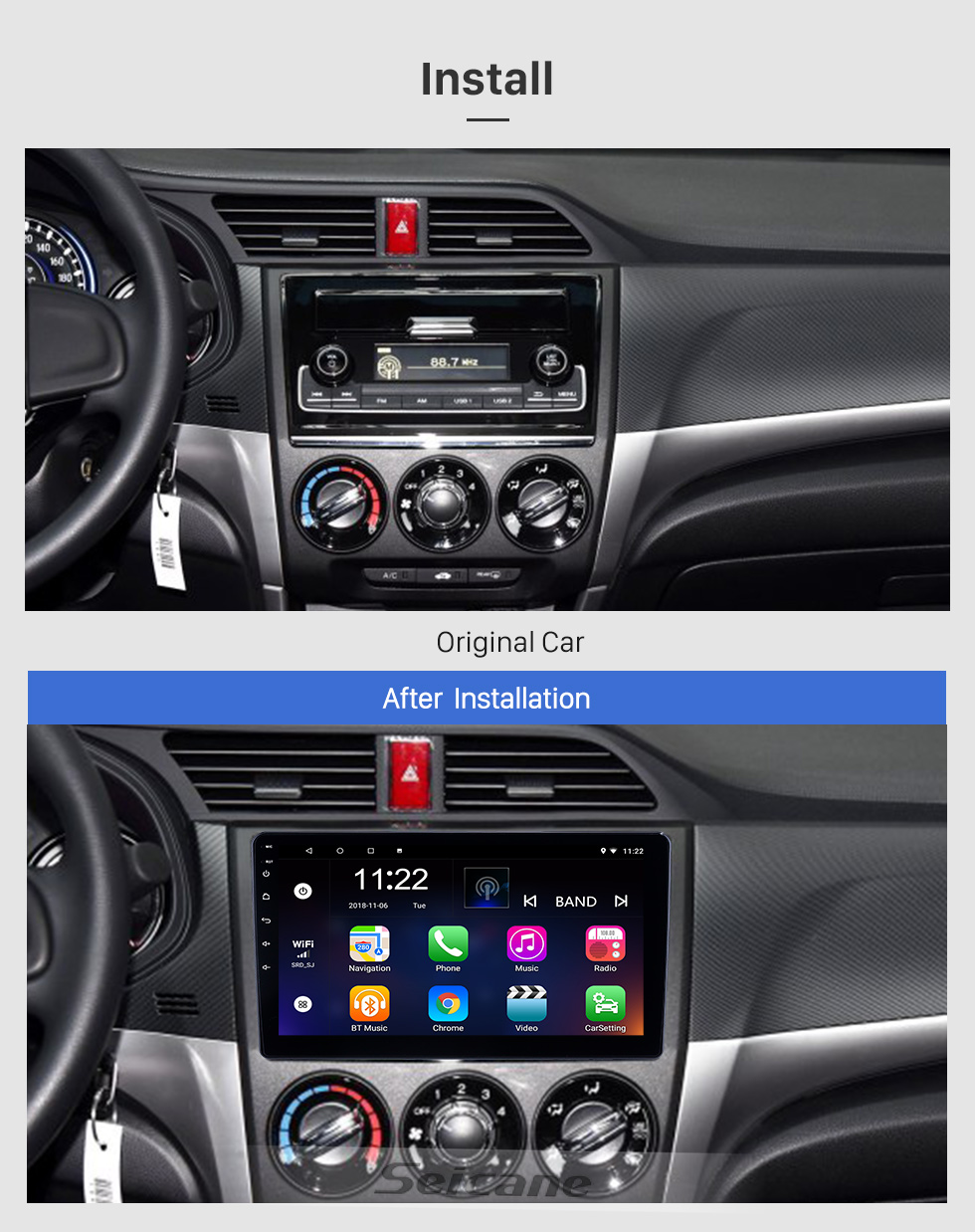 Seicane 10,1 pouces Android 8.1 HD Radio tactile Navigation GPS pour 2018-2019 Honda Crider avec support Bluetooth WIFI AUX Carplay Mirror Link