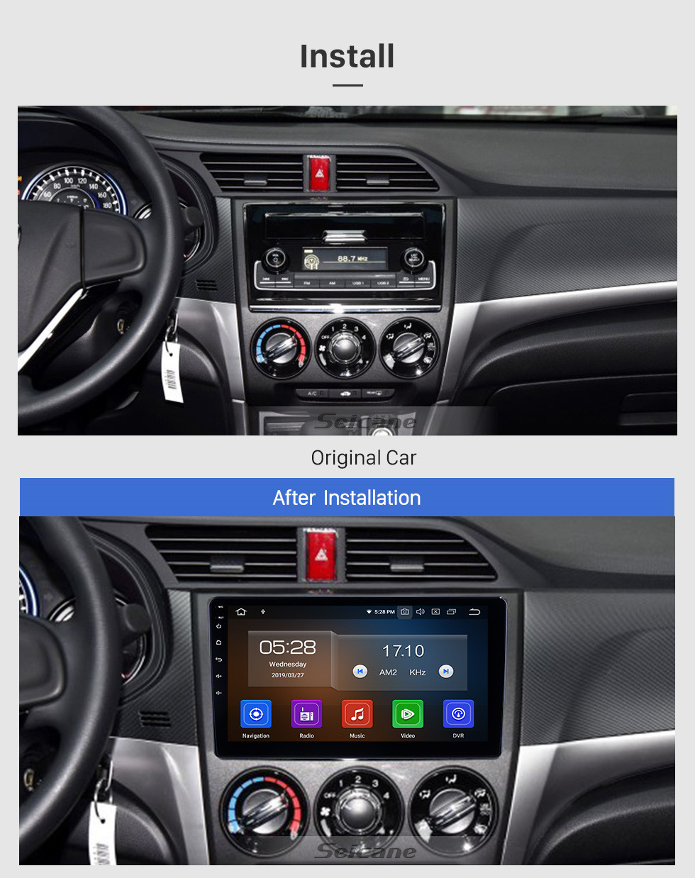 Seicane 10,1 pouces 2018-2019 Honda Crider Android 9.0 Navigation Radio Radio Bluetooth HD Écran tactile AUX USB WIFI Support Carplay OBD2 1080P
