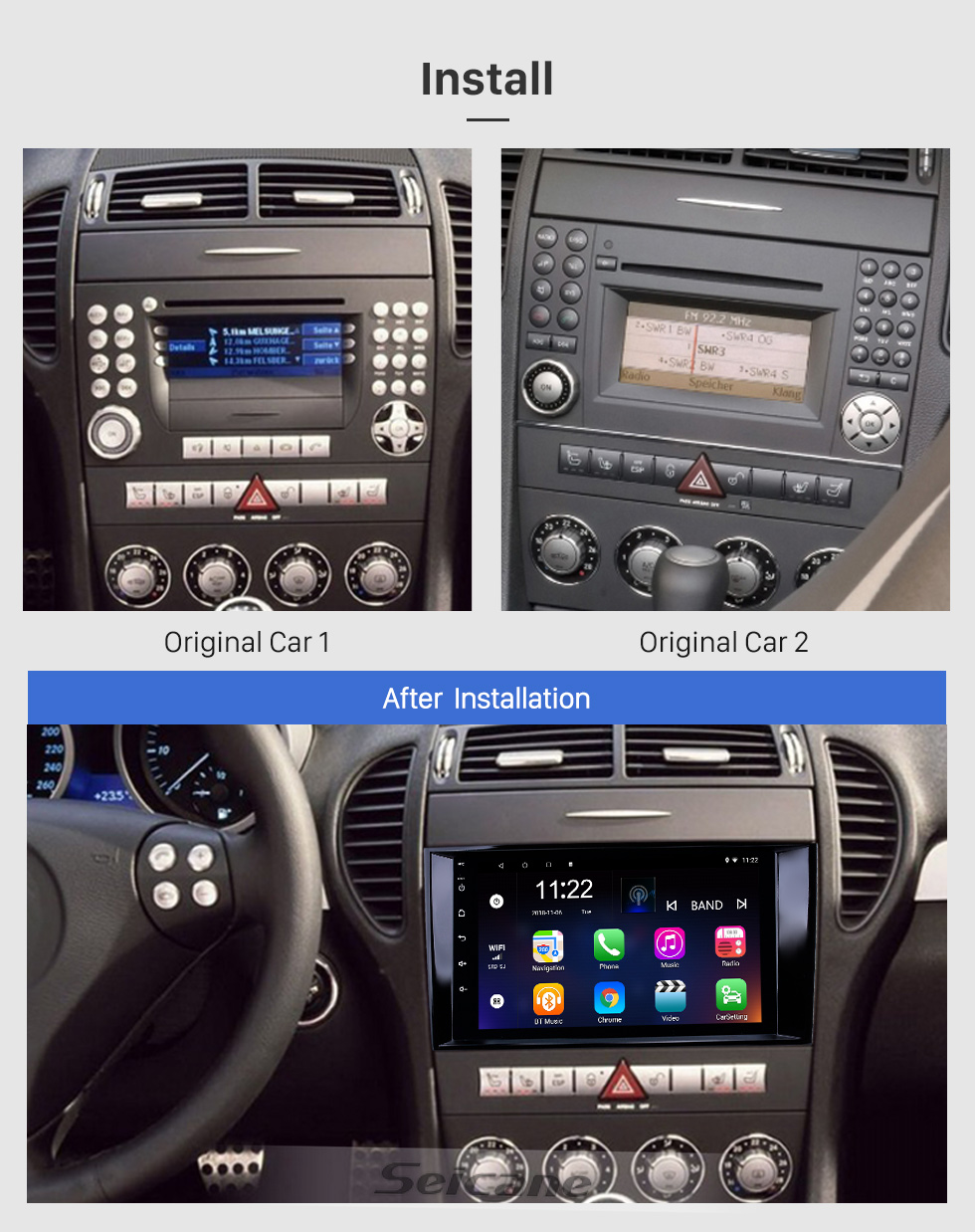Seicane 8 inch Android 8.1 HD Touchscreen GPS Navigation Radio for 2000-2011 Mercedes Benz SLK class R171 SLK200 SLK280 SLK300 with Bluetooth WIFI AUX support Carplay Mirror Link