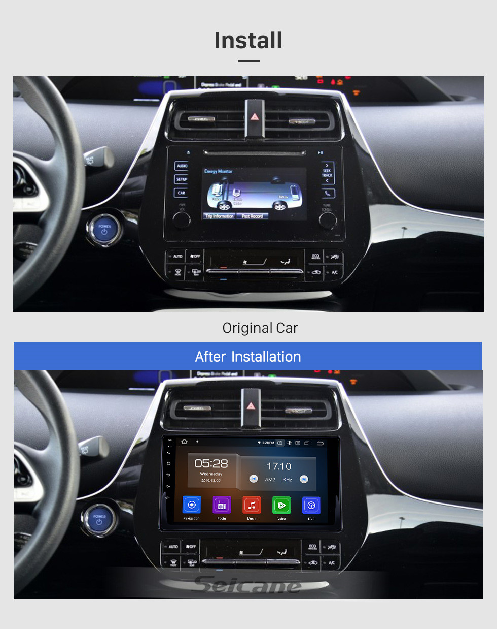 Seicane 2016 Toyota Prius Android 9.0 9 inch GPS Navigation Radio Bluetooth AUX HD Touchscreen USB Carplay support TPMS DVR Digital TV Backup camera