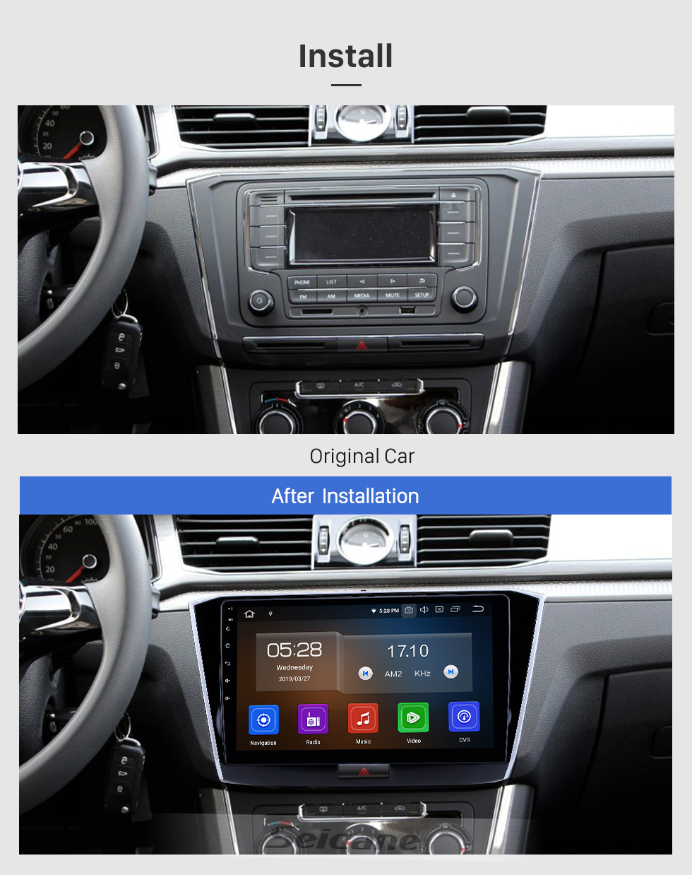 Seicane 10.1 inch Android 8.1 GPS Navigation Radio for 2016-2018 VW Volkswagen Passat with HD Touchscreen Bluetooth USB support Carplay TPMS