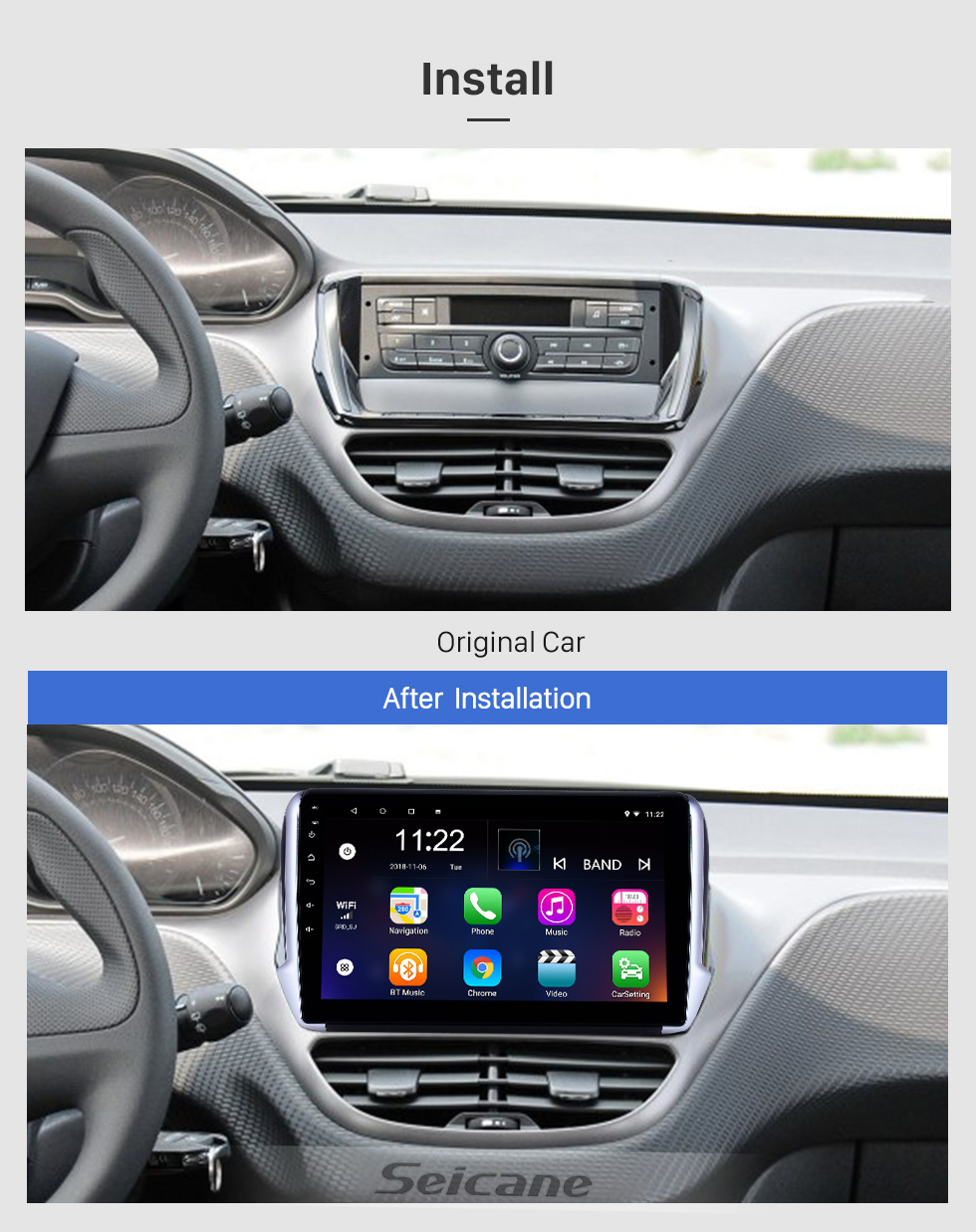 Seicane 10.1 inch Android 8.1 GPS Navigation Radio for 2014-2016 Peugeot 2008 with HD Touchscreen Bluetooth USB WIFI AUX support Carplay SWC TPMS